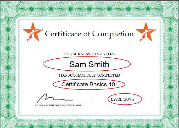here is the certificate with sample text in the form fields note i did go back and change the font to helvetica instead of helvetica bold